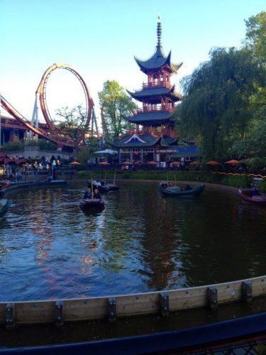 Dragon boat lake daemonen roller coaster tivoli gardens copenhagen