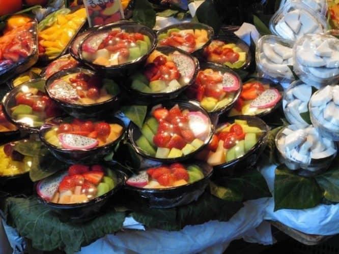 Fruit and coconut in La Boqueria.