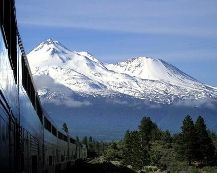 Am Amtrak train passes by out west.