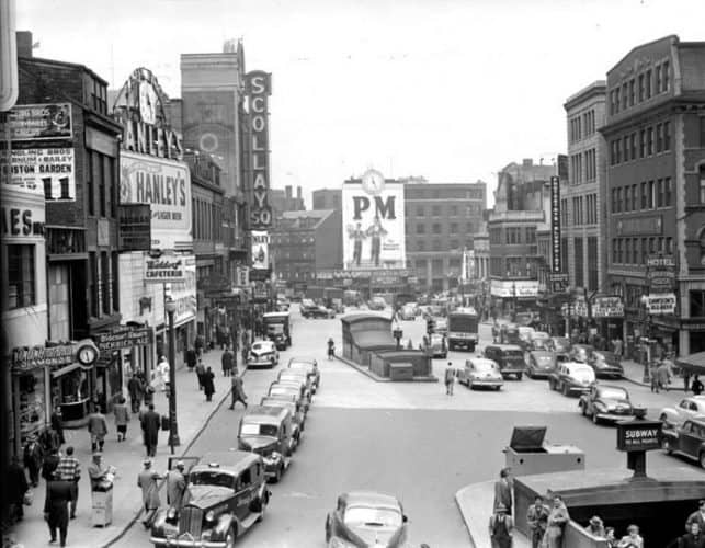 Scollay Square in 1942, twenty years before its demolition. Photos from walktothesea.com