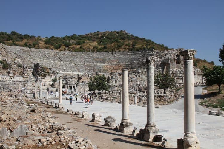 Guests exploring the archeological remains at Ephesus.