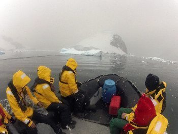 Zodiac cruise in blizzard near Cuverville Island. Zaid Mahomedy photo.
