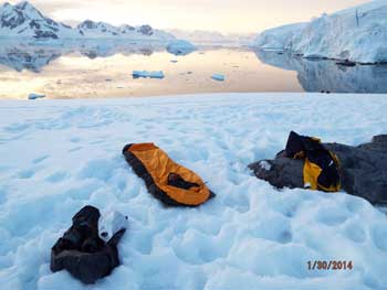 A campsite in Antarctica. Dennis O'Connor photo.