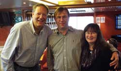 Dennis O'Connor, left, with friends on the ship.