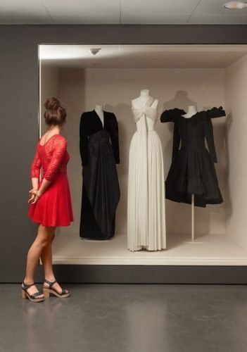 Dresses from the 1970's and 80's as part of the fashion collection at The Museum of Decorative Arts.