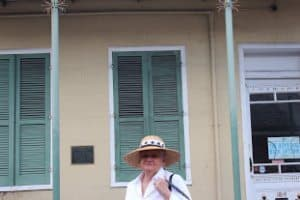 lnez Douglas, our local guide in front of a one-time Faulkner apartment.