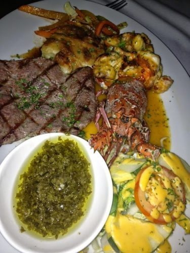 Lobster, steak and chimichuri at Le Turon in Leon.
