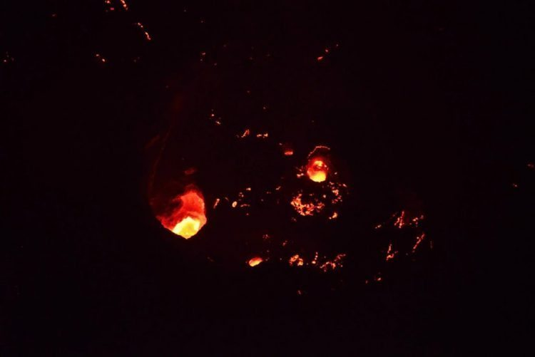 Staring into the magma in Telica.