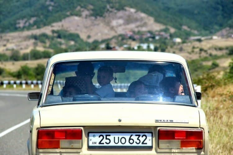 Taking a family ride in a Lada.