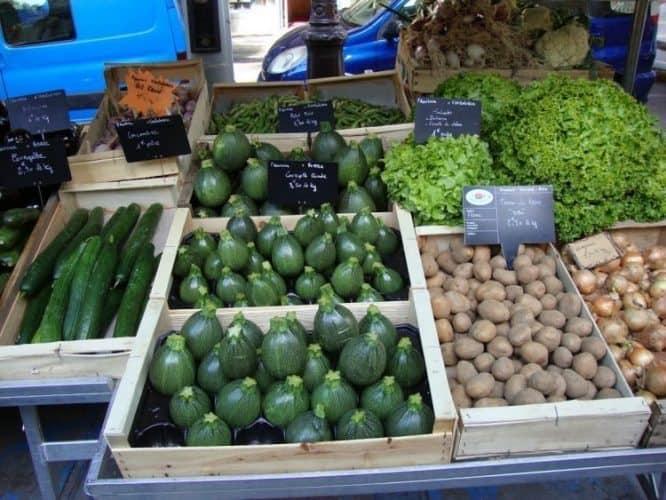 Fresh local veggies in a French market. Tina Gordon photo.