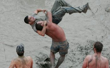 Mud wrestling in Boryeong South Korea.