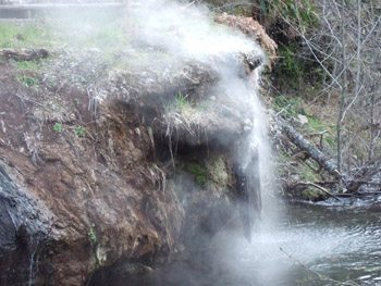 Where hot springs water meets the cold, glacier fed Breitenbush River's flow.
