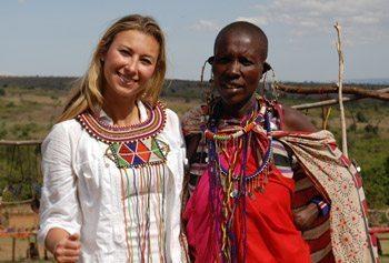 Julia with a Maasai in Kenya.