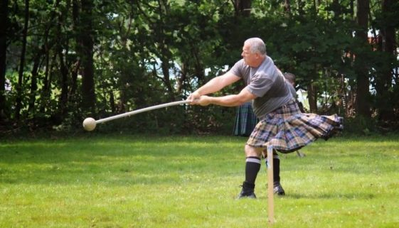 Throwing the heavy hammer at the New Brunswick Highland Games
