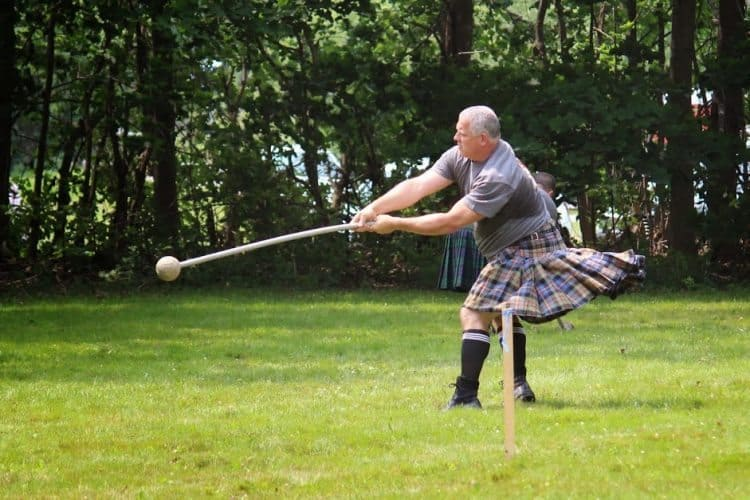 Throwing a hammer at New Brunswick's Highland Games. Heather Sinclair photo.