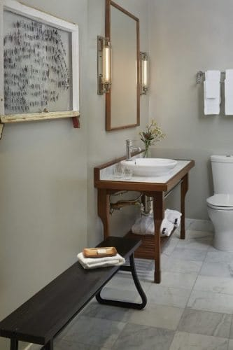 Bathroom in a typical Hotel G room.