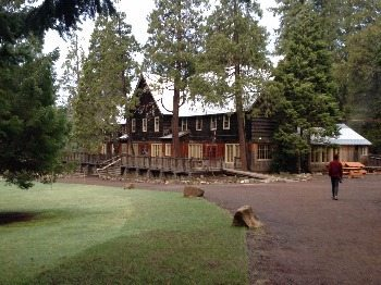 A view of the main lodge building.