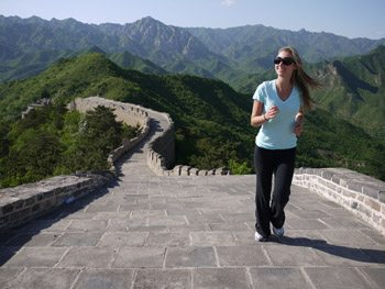 Running on the Great Wall in China.