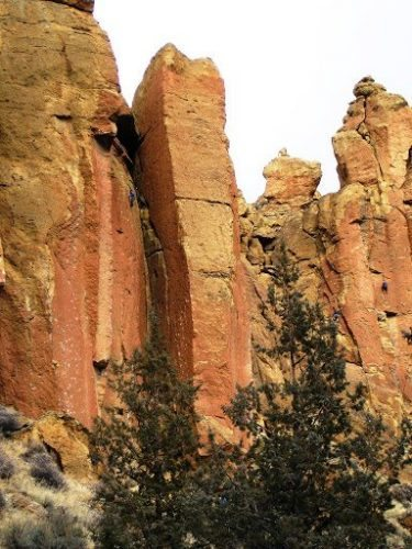 Rock Climbers scaling Smith Rock.