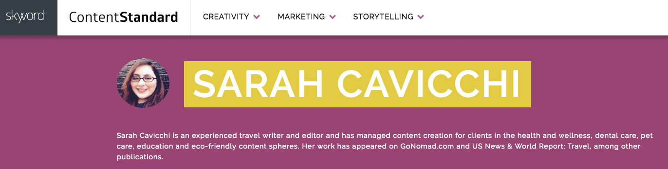 Sarah Cavicchi was a GoNOMAD intern who turned that into a job as a content editor with Skyword, see the note above about writing for GoNOMAD and US News and World Report
