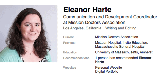 Eleanor Harte was also an intern who got a great job in Los Angeles right after her internship.