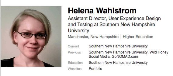 Helena's strong writing ability landed her a content marketing job in New Hampshire and now she has a great position at Southern New Hampshire University.