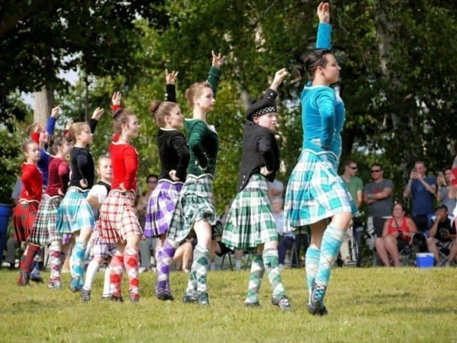 Highland Dancers from all levels of the competition came together to perform the Highland Fling at the closing ceremonies of the Highland Games.