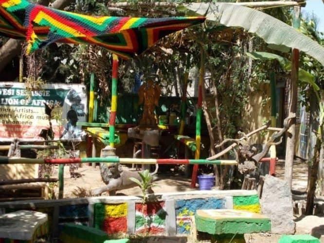 A shrine to the Rastafarian movement.