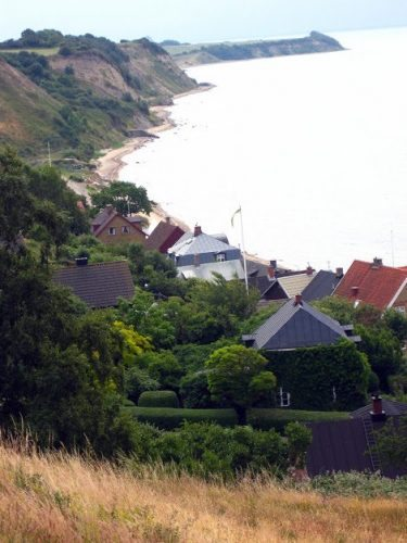 Hillside houses on the coast.