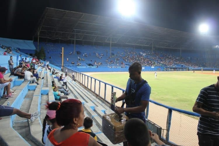 Vendors sell food and drinks during the games.