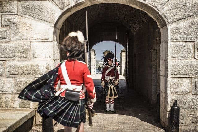 Reenactors portray the changing of the guard at the Halifax Citadel.
