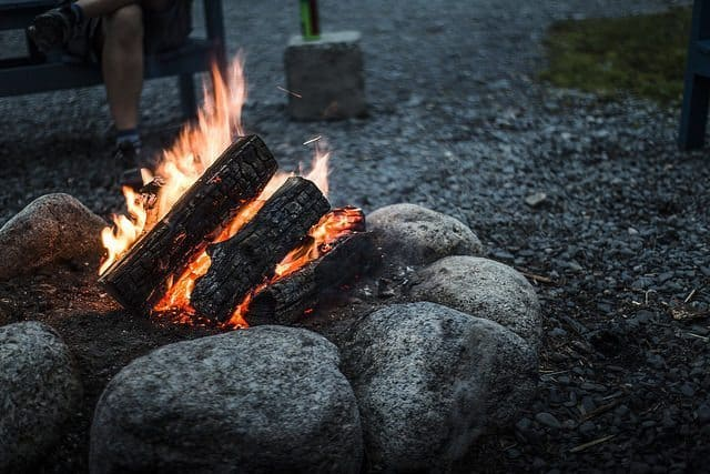 Fresh mussels cook over the community fire at Murphy's Camping on the Ocean.
