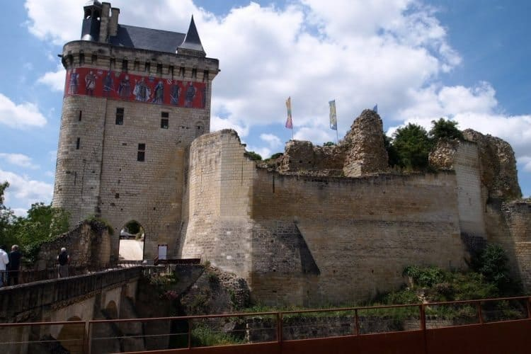 Chateau at Chinon, a well preserved Middle Ages era fortress high on a bluff above the town and the Vienne River.