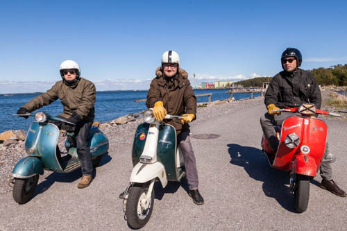 Vespa scooter club in Hanko. Members drive vintage '60s bikes and share a love of these Italian classic motorbikes in Hanko.