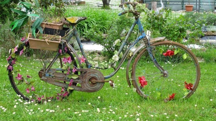 An old bike with flowers. A perfect yard adornment.