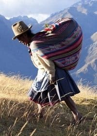 A woman in the Andes.