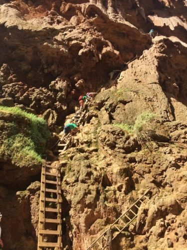 Adrenaline climb down chains and ladders at Mooney Falls!