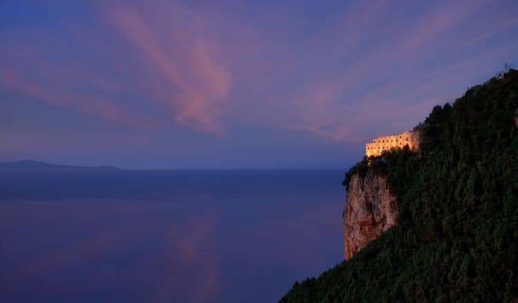 Monastero Santa Rosa is perched on a cliff above Amalfi, Italy.