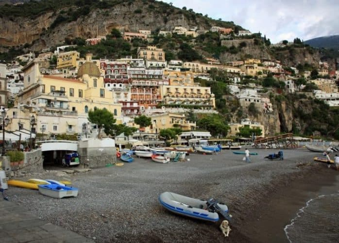 The village of Positano, perched on a steep cliff in the Amalfi region of southern Italy.