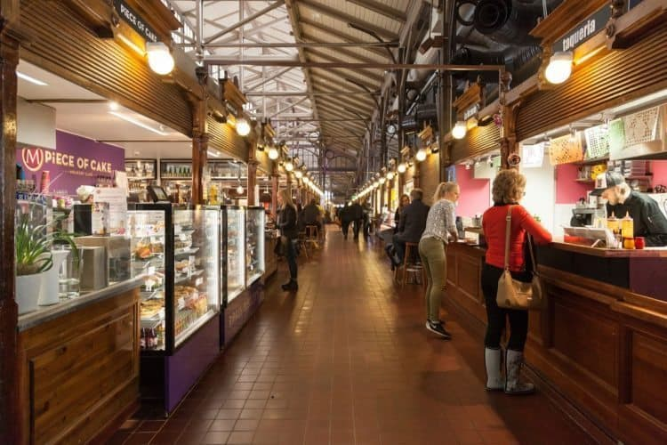 The busy public market in Turku.