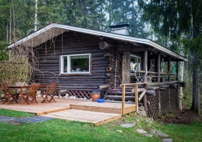 A rustic cabin called Villa Armas at Hawkhill Nature, outside of Espoo, Finland.