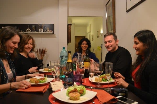 Dining with Simona, a Bonappetour host in Rome, Italy, who frequently offers meals in her apartment there.