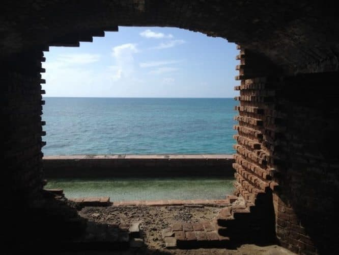 Fort Jefferson window looking out to the sea.