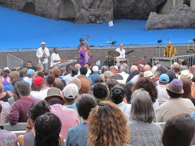 Free summer jazz concert, Marcus Garvey Park, Harlem.