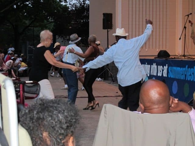 here's been a resurgence of Swing Dance in Harlem with dancers from the audience swinging out at most free Jazz concerts. Yuien Chin photos.