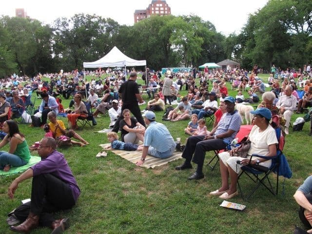 People enjoy Great Jazz on the Great Hill - A Jazz and Blues Festival.