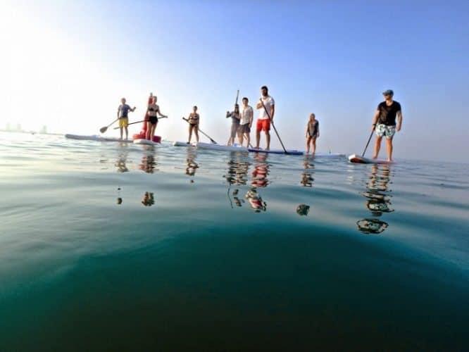 Standup paddleboarding.