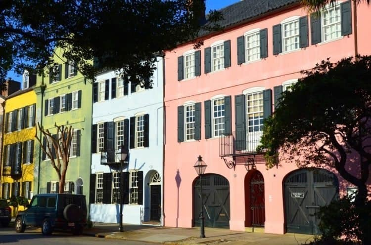 Colorful historic houses in Charleston, SC.
