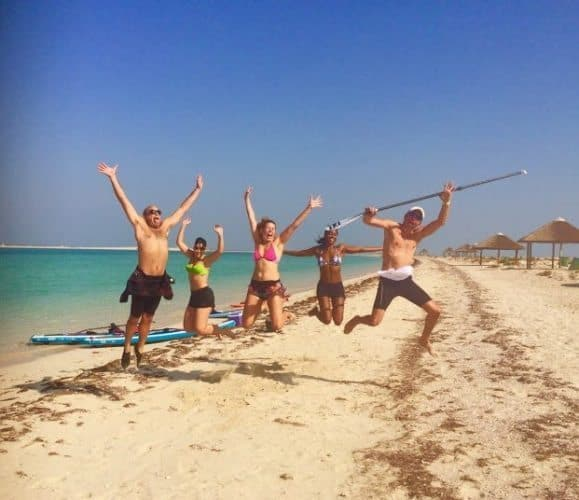 Paddleboarding is a great group activity.
