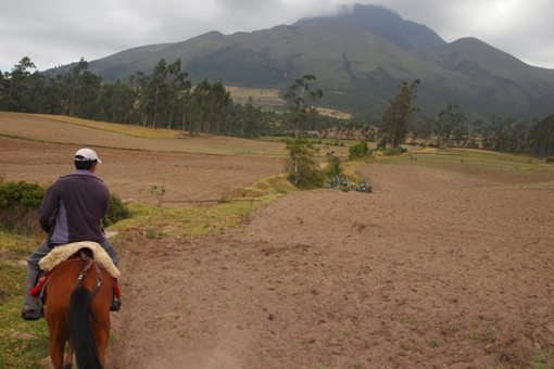 Riding toward a volcano in Otavalo, Ecuador. Photos by Max Hartshorne.